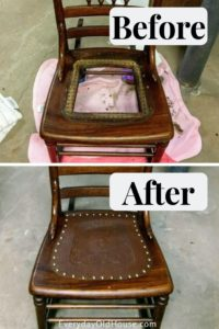 Pleasing How To Replace A Leather Seat In An Antique Chair Everyday Spiritservingveterans Wood Chair Design Ideas Spiritservingveteransorg