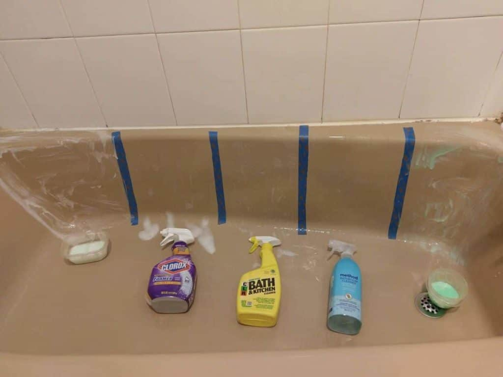 Comparison of 3 of the leading bathroom cleaners vs 2 homemade cleaners #bathroomcleaners #bathtub